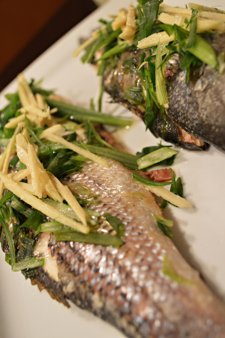 Steamed black bass with ginger and scallions