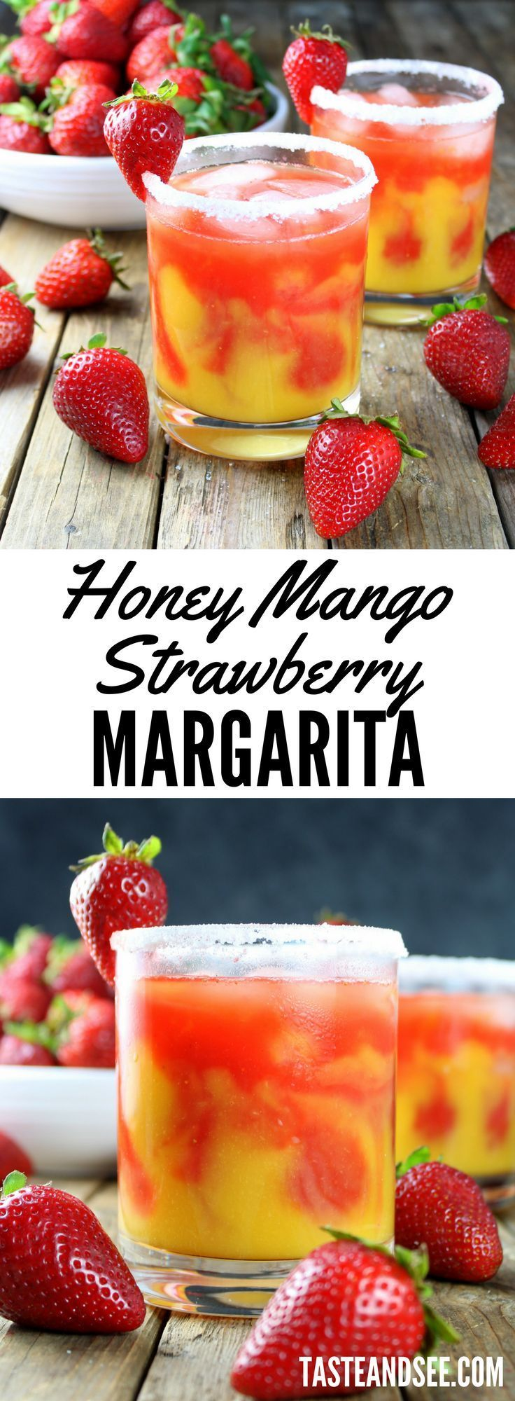 The Honey Mango Strawberry Margarita... fresh, fruity, boozy and delicious!  The perfect cocktail for Taco Tuesday, Cinco de Mayo or anytime you want something tasty and refreshing. #margarita #cincodemayo #tequila #strawberry https://tasteandsee.com