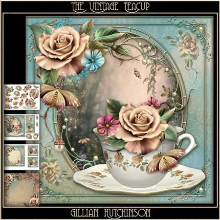 The Vintage Teacup on Craftsuprint designed by Gillian Hutchinson - Simply…