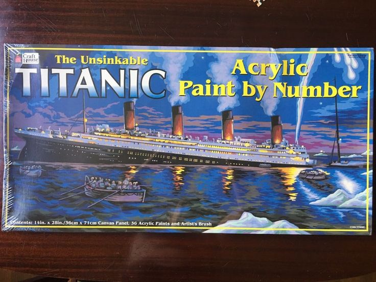 "The Unsinkable Titanic Acrylic Paint by Number 14"" x 28"" NIB Sealed Craft House #CraftHouse"