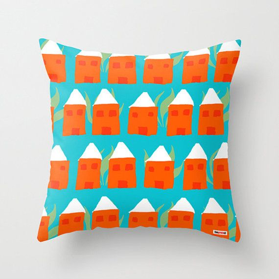 Houses Decorative throw pillow cover  Colorful by thegretest, $55.00