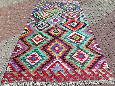 "Anatolian Turkish Vintage Antalya Barak Kilim 61,4""x124,8"" Area Rug Carpet Rugs"