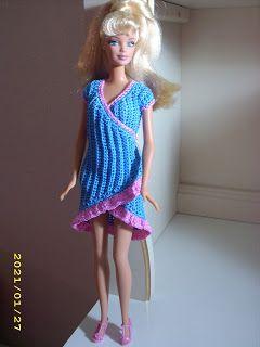 Crochet for Barbie (the belly button body type): Electric blue wrap dress http://crochetforbarbie.blogspot.com/2012/07/electric-blue-wrap-dress.html