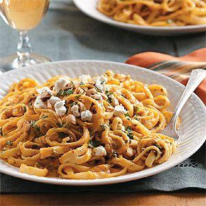 Spicy Pumpkin Pasta with Hazelnuts