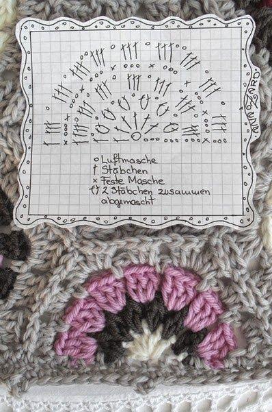free crochet chart for a half 6-eck Granny - Hexagon-Granny