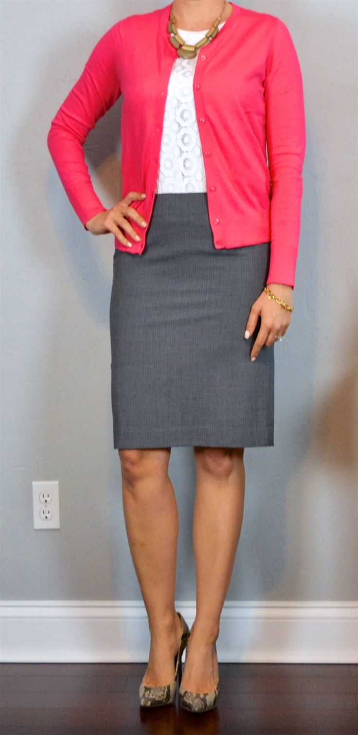 outfit post: pink cardigan, white lace top, grey pencil skirt, snakeskin pumps