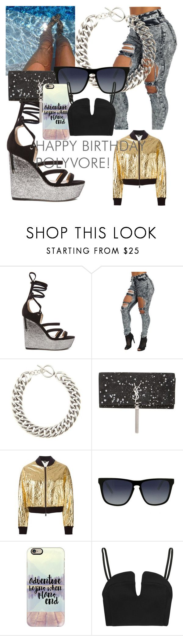 """""""The outfit for super bowl"""" by chrisneenee ❤ liked on Polyvore featuring Tamara Mellon, Yves Saint Laurent, DKNY, X-Ray, Casetify, Opening Ceremony, women's clothing, women, female and woman"""