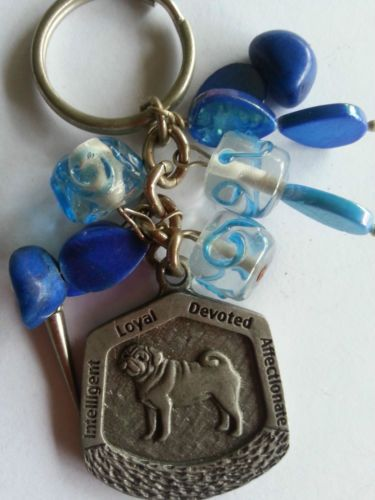 Pug-dog-metal-alloy-pendant-loyal-cute-small-dog-breed-blue-or-green-key-rings