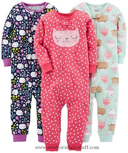 d6faab271a5cc Baby Girl Clothes Simple Joys by Carter's Girls' 3-Pack Snug-Fit Footless  Cotton Pajamas, Sweets/Floral/Kitty, 18 Months