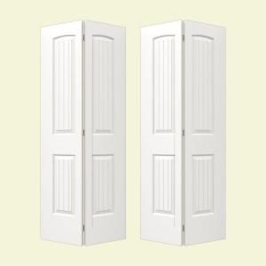 Jeld Wen Smooth 2 Panel Arch Top V Groove Painted Molded Interior Bifold Closet Door For The