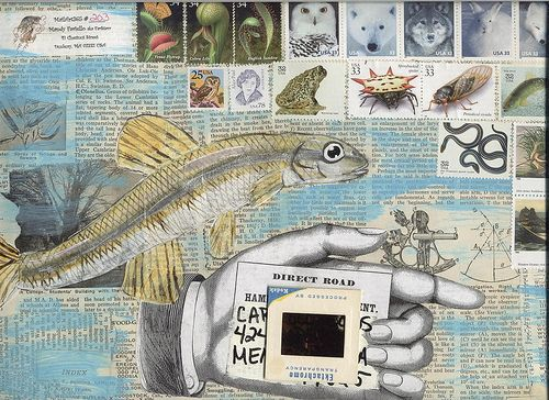 Newspaper and lots of stamps: mailart365-Day 203 front