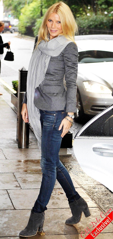 Gwyneth // Grey Suede Ankle Boots U0026 Blue Skinnies | Celebs / Beautiful People | Pinterest | Grey ...