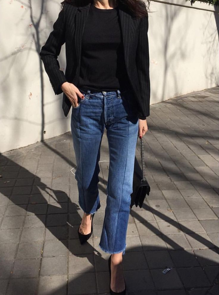 black and denim | blazer | style | outfit
