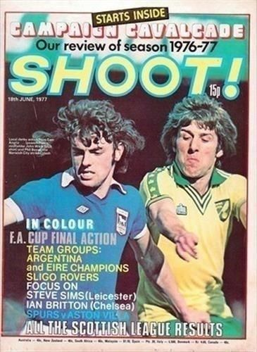 Couverture-shoot-18-06-77-Ipswich-Town-Norwich-city-vieux-magazine-de-football-photo