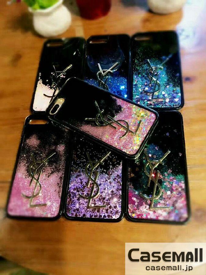 YSL iPhone8ケース 流れ星 ハート iPhone8plus カバー イブサンローラン iPhone7ケース きらきら iPhone7プラスカバー ラメ おしゃれ