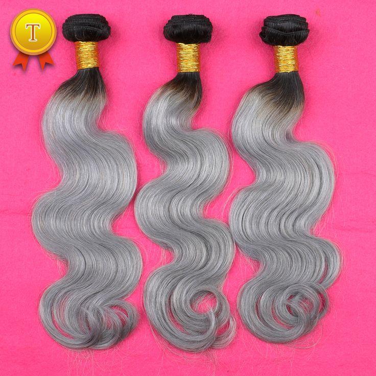 新しい3ピース7a人間のバージンオンブルブラジル毛実体波グレー髪織りプラチナシルバーグレーオンブル毛延長3バンドル