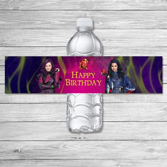 The Descendants Water Bottle Label Pink / The by ItsACowsOpinion