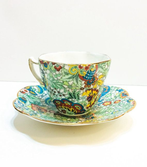Gorgeous Rosina Tea Cup, Paisley Chintz, Blue, Green, Red, Gold Rims, Scalloped, 1950s, Vintage