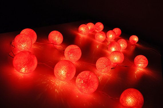 Red cotton ball string lights for Patio,Wedding,Party and Decoration (20 bulbs)