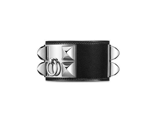 Collier de Chien Bracelet cuir en veau Box noir, fermoir palladié (tour de poignet : jusqu'à 17 cm)
