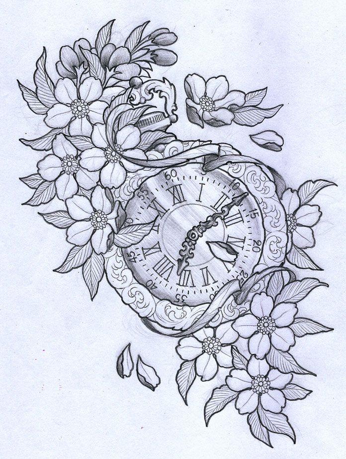 Vintage clock with cherry blossom by ~TeroKiiskinen on deviantART