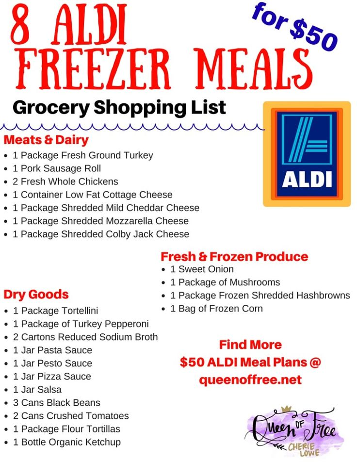 Make Dinner for Less this Week! Printable shopping list, Freezer - meal plan