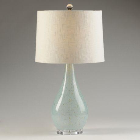 "sample 1: Sandy Blue Glass Lamp 28"" $60"