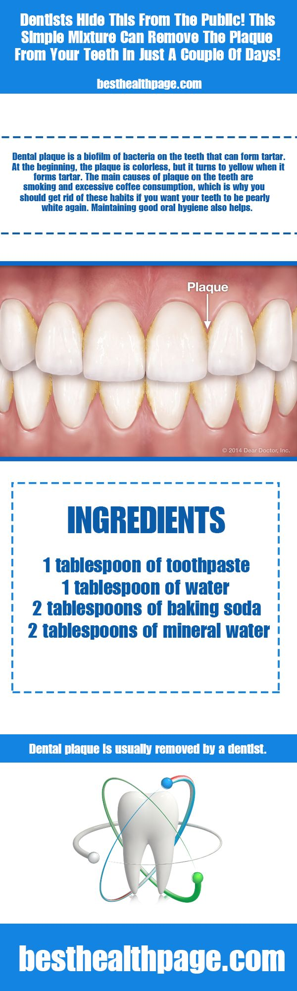 Dentists Hide This From The Public! This Simple Mixture Can Remove The Plaque From Your Teeth In Just A Couple Of Days! - Best Health Page