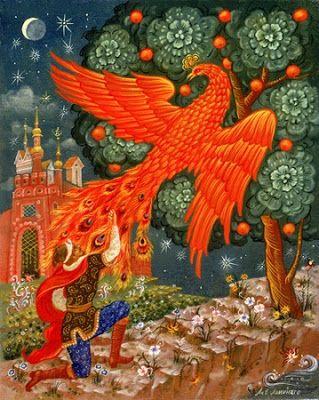 """Zhar-ptitsa-é descrito como uma grande ave de plumagem majestosa que flameja em luzes vermelhas, amarelas e alaranjadas como uma fogueira. As penas continuam a flamejar se forem tiradas e uma pena pode iluminar um grande salão se não for escondida. Na iconografia moderna, o Pássaro de Fogo tem a forma de um pequeno pavão cor de fogo, com crista na cabeça e penas da cauda com """"olhos"""" flamejantes."""