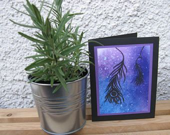 Feathers- a watercolour print card by erinkartwork  $4.75CAN Art. Ink. Watercolor. Watercolour. Cards. Greeting cards. Watercolor art. Galaxy Painting. Feathers. Wanderer. Dreams.