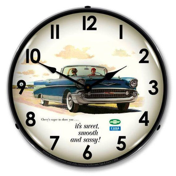 Antique Style 1957 Bel Air Convertible Backlit Clock 129 99 Bel Air Wall Clock Light Chevy Bel Air