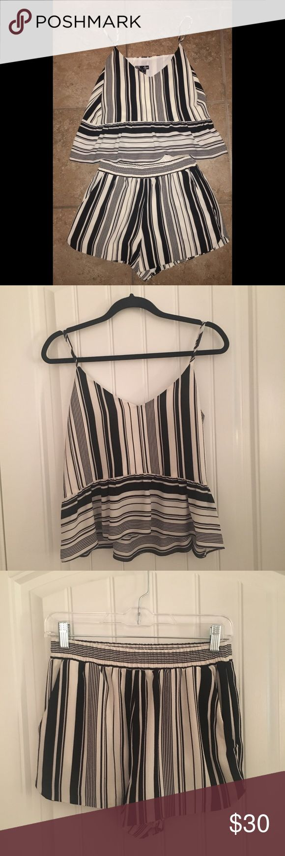 NWT Bloomingdales Aqua Two Piece Set Black and White Stripe Two Piece Set, Top- M & Shorts- M Aqua Other