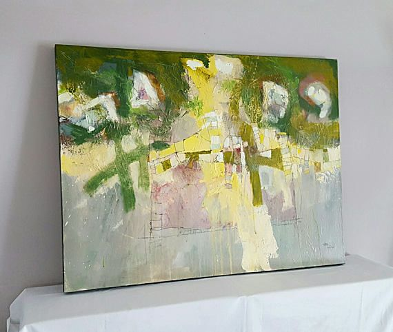 One of the fine classic works by George M. Clark (Lancaster County, PA artist) Gorgeous Original Mixed Media and Acrylic on Canvas Painting with textured surface and mix of soft colors in meadow green, yellow, pastel green and some pink. The details of this painting are just simply