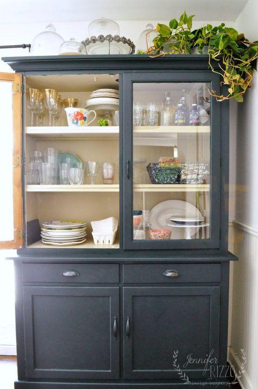 Dark Green Paint My Painted Kitchen Hutch My Diy Jennifer Rizzo S