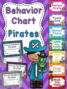 """Pirates Behavior Clip Chart in a fun chevron pattern for your classroom perfect for a pirate or ocean themed classroom or just for fun! Students love trying to get to the top of the chart to be a """"Perfect Pirate"""" and take home an award to show their family!SAVE A TON by grabbing ALL my behavior charts in the Behavior Charts BUNDLE to have an entire year of fun behavior clip charts!I have these for so many themes!!"""