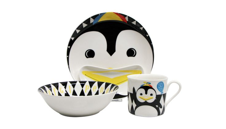 Children high-quality porcelain tableware from MultipleChoice by topchoise for SillyDesign Poland, pop penguin, funny gift, colorful porcelain, dinner set for children, price 26€