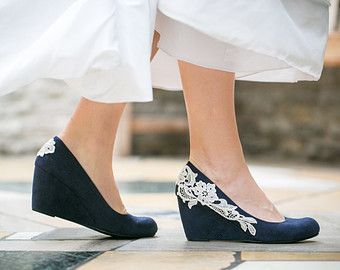 Wedding Shoes Navy Blue Wedges Bridal Heels