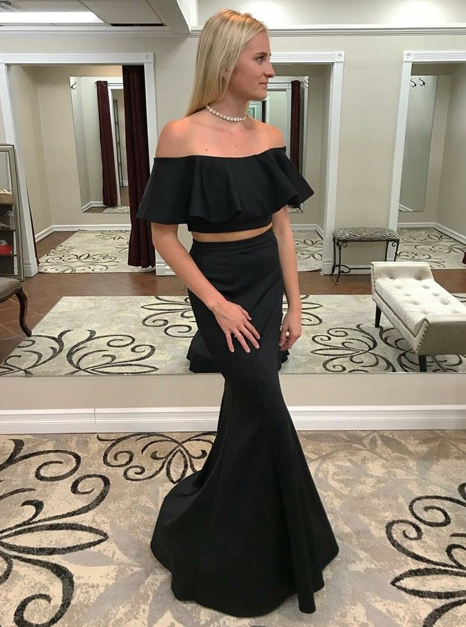 56e2e68b393 chic black off shoulder 2 pieces prom dresses for women
