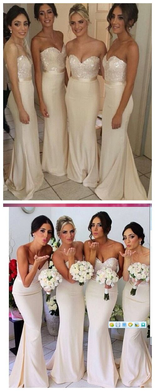 Want this but in blush!!! USD$99 Ivory Sequins Sweetheart Bridesmaid Dress can get it in watermelon which is coral!!! LOVE THIS DRESS