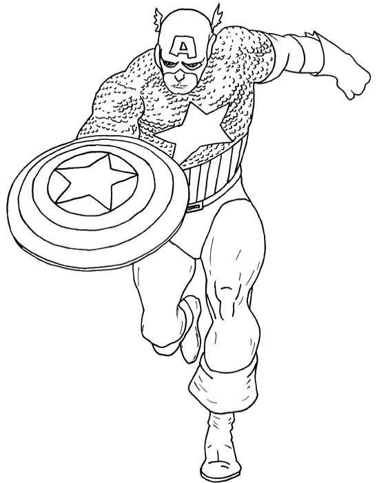 Super Hero Captain America Coloring Page