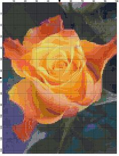 Cross Stitch Pattern Peach and Yellow Marie Clare Rose Flower Garden Cross Stitch Design Chart PDF File Instant Download