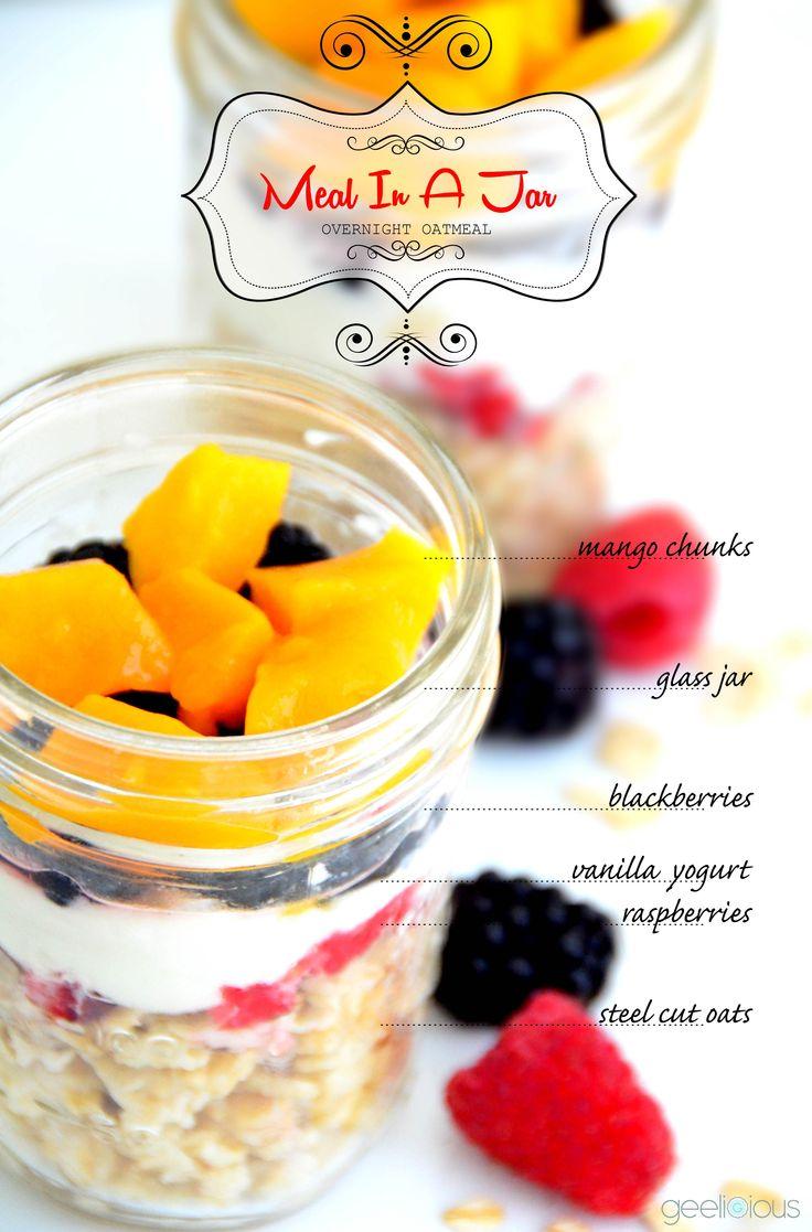 § Fulfilling My Sweet Tooth §      Try - Meal In A Jar  overnight oatmeal - mango,raspberries,blackberries,vanilla yogurt ,oats
