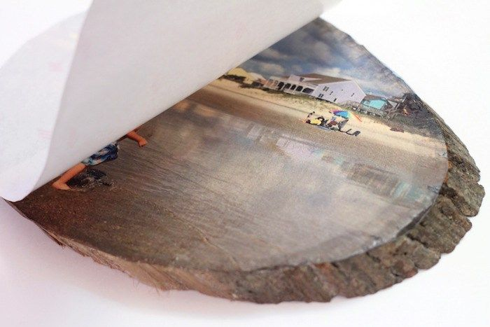 transfer a photo to a wood slice using Silhouette temporary tattoo paper and inkjet printer