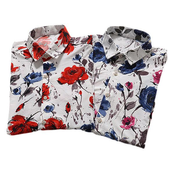 Plus Size Beach Seaside Fashion Flowers Printing Loose Short Sleeve... (€23) ❤ liked on Polyvore featuring men's fashion, men's clothing, men's shirts, men's casual shirts, mens casual short sleeve shirts, mens floral shirts, mens floral dress shirts and mens short sleeve shirts