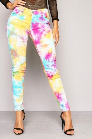 Multi Colour Tie Dye Skinny Jeans