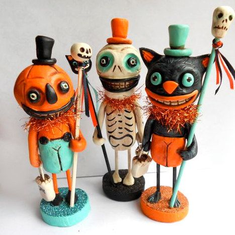 Halloween Skelly with Black Cat Wand clay folk art by indigotwin, $35.00