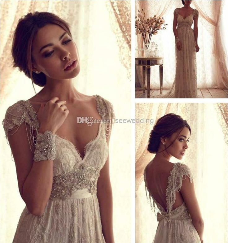 Buy Anna Campbell Vintage Wedding Dresses Lace Beadings Sweetheart Deep V Back Beaded Waist Wedding Gowns With Bow Backless Bridal Dresses Black Wedding Gowns Bridal Dress Stores From Seewedding, $198.1| DHgate.Com