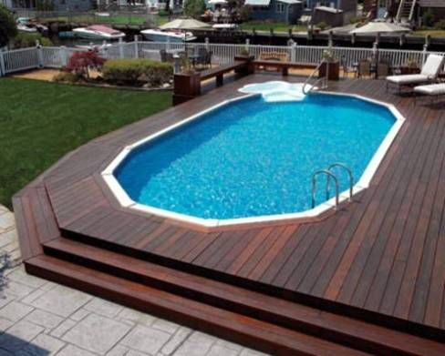 above ground pools with decks cost around the house
