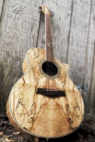 Beautiful wood grain on this acoustic guitar!