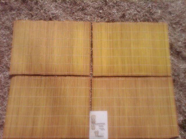 Set 4 Tiki Islander Split Yellow Bamboo Placemat Retro era party table decorations.